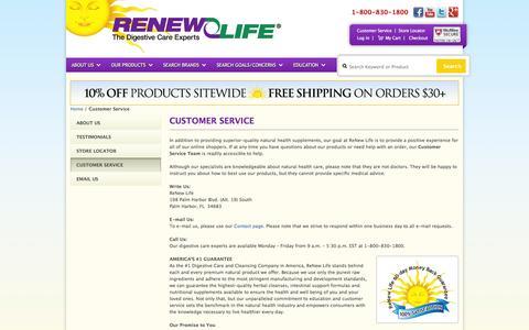Screenshot of Support Page renewlife.com - Customer Service - captured Oct. 26, 2014