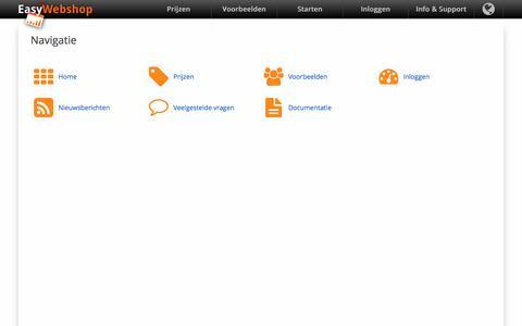 Screenshot of Menu Page easywebshop.be - Navigatie - EasyWebshop - captured Dec. 29, 2016