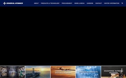 Screenshot of Home Page ga.com - General Atomics & Affiliated Companies | General Atomics - captured Aug. 14, 2019