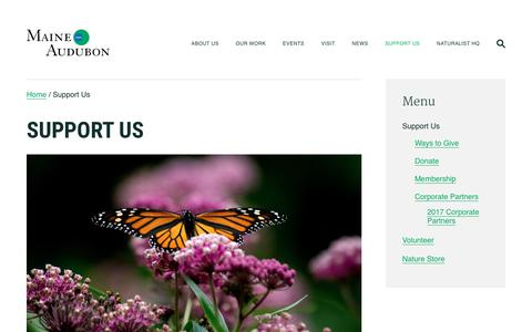 Screenshot of Support Page maineaudubon.org - Support Us   Maine Audubon - captured July 27, 2018