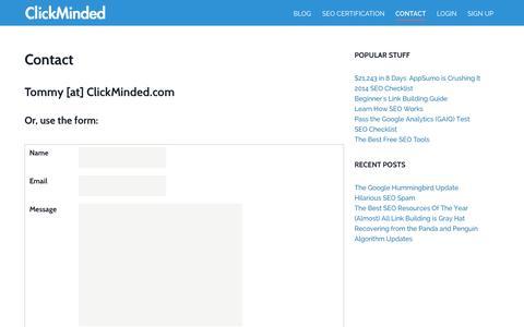 Screenshot of Contact Page clickminded.com - Contact - ClickMinded - captured Oct. 30, 2014