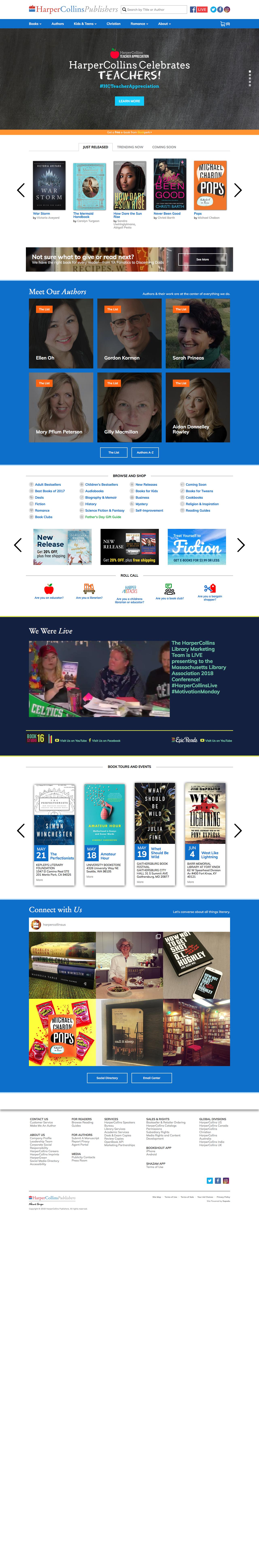 Screenshot of harpercollins.com - HarperCollins Publishers: World-Leading Book Publisher - captured May 22, 2018