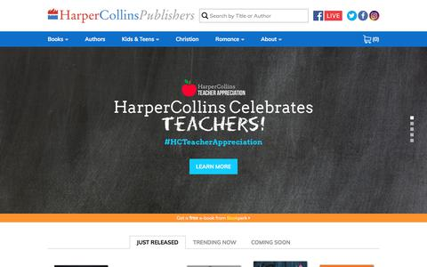 Screenshot of Home Page harpercollins.com - HarperCollins Publishers: World-Leading Book Publisher - captured May 22, 2018