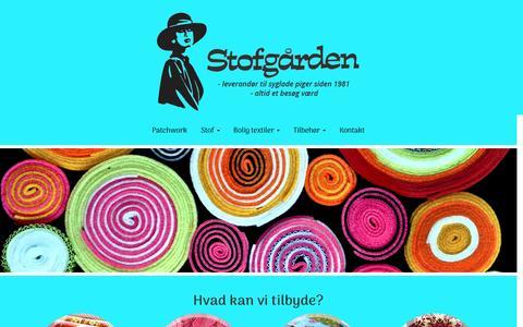 Screenshot of Home Page stofgaarden.dk - Stof hos Stofgården - Vi har stort udvalg af forskellige tekstiler - captured April 5, 2017