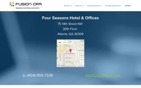 Screenshot of Contact Page fusiontaxes.com - Contact Atlanta CPA - Fusion CPA I Atlanta Bookkeeping, Tax & CFO Advisory - captured Feb. 10, 2016