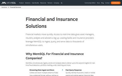 Database Solutions for Financial Services