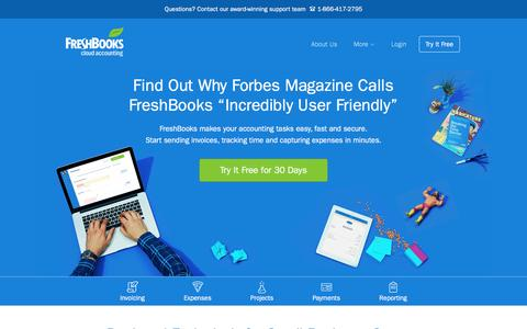 Screenshot of Home Page freshbooks.com - Small Business Accounting Software in the Cloud  | FreshBooks - captured July 27, 2016