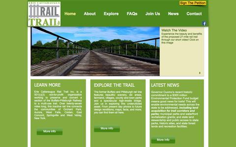 Screenshot of Home Page ecattrail.org - Erie Cattaraugus Rail Trail - captured Jan. 30, 2016