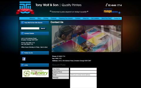 Screenshot of Contact Page Terms Page tonywolf.com.au - For High Quality Printing Contact Tony Wolf & Son - captured Oct. 26, 2014