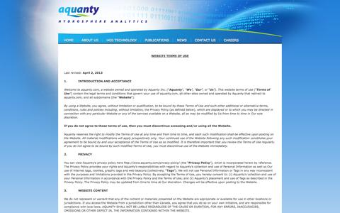 Screenshot of Terms Page aquanty.com - Terms & Conditions - Aquanty - captured Sept. 30, 2014