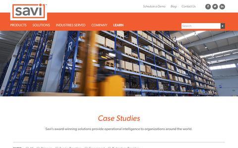 Screenshot of Case Studies Page savi.com - Our Customers | Savi - captured Sept. 29, 2017