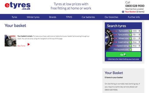 To make a purchase add tyres or batteries to basket from stock - site fitting next working day