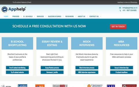 Screenshot of Home Page apphelp.co.in - Apphelp: #1 MBA admission consultant in India - Essay review & Editing services, Mock interview services - captured Nov. 21, 2016