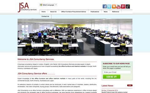 Screenshot of Home Page jsacs.com - Office Furniture Design, Sales & Marketing Consultants - John Sacks Consultant of JSA Consultancy Services - captured Oct. 6, 2014