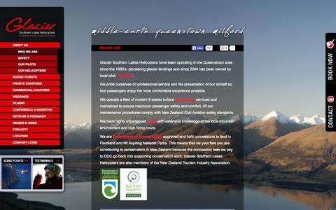 Screenshot of About Page glaciersouthernlakes.co.nz - Glacier Southern Lakes Helicopters New Zealand Scenic Flight Operators Queenstown - captured Oct. 2, 2014