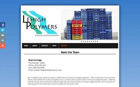 Screenshot of Privacy Page Contact Page lehighpolymers.com - Contact - captured Oct. 22, 2014