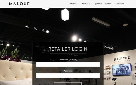 Screenshot of Login Page maloufsleep.com - Login | Malouf Sleep - captured Nov. 2, 2014