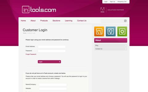 Screenshot of Signup Page Login Page in-tools.com - Customer Login | in-tools.com - captured Oct. 23, 2014