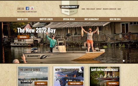 Screenshot of Home Page alumacraft.com - Alumacraft :: Home - captured Sept. 23, 2014