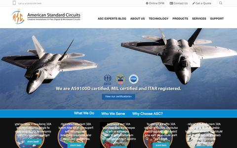 Screenshot of Home Page asc-i.com - American Standard Circuits :: Home - captured Oct. 3, 2018