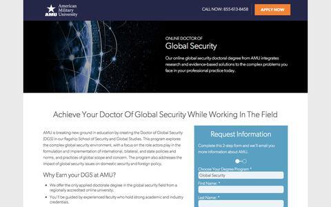 Screenshot of Landing Page apus.edu - Doctor of Global Security | American Military University - captured April 13, 2018