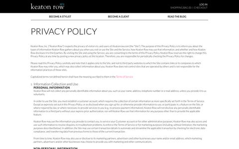 Screenshot of Privacy Page keatonrow.com - Privacy Policy - Signup - Stylist - captured Sept. 22, 2014