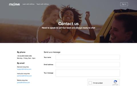 Screenshot of Contact Page midrive.com - Contact us - miDrive - captured July 8, 2017