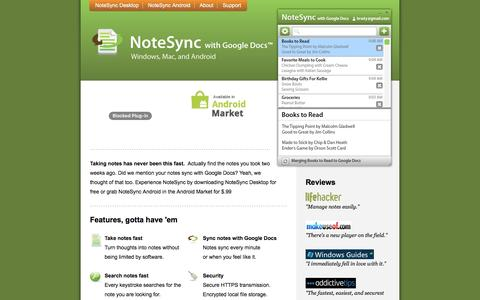 Screenshot of Home Page notesync.com - NoteSync with Google Docs - captured May 21, 2016