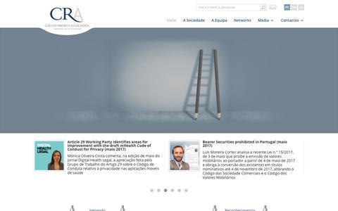 Screenshot of Home Page cralaw.com - CRA | Coelho Ribeiro e Associados - captured July 9, 2017