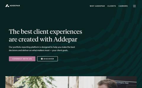 Screenshot of Home Page addepar.com - Home - Addepar - captured Feb. 22, 2020