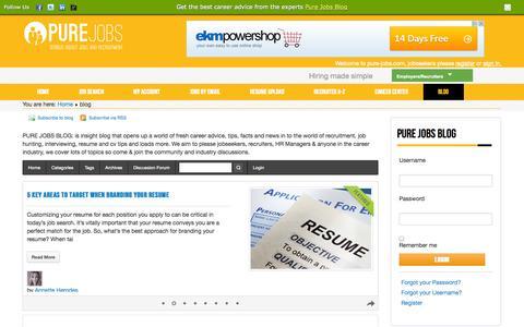 Screenshot of Blog pure-jobs.com - PURE JOBS BLOG | Inspiring Career, Resume, and Job Search Advice - captured Sept. 23, 2014