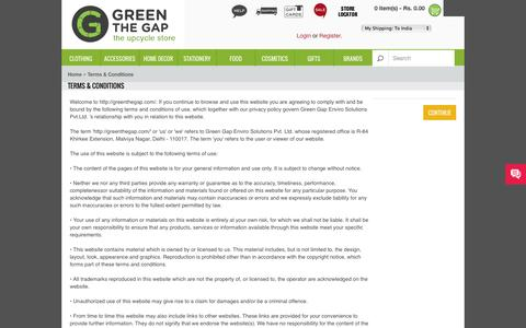 Screenshot of Terms Page greenthegap.com - Terms & Conditions - captured Sept. 30, 2014