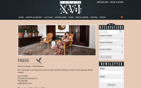 Screenshot of Press Page casasdelxvi.com - Casas del XVI | Santo Domingo, D.R. Boutique Luxury Hotel | Press - captured July 11, 2016