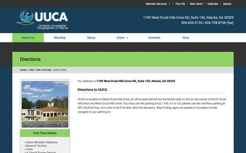Screenshot of Maps & Directions Page uuca.org - Directions - UUCA – Unitarian Universalist Congregation of Atlanta - captured Oct. 18, 2018