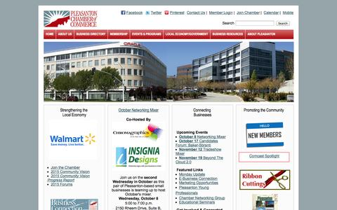 Screenshot of Home Page pleasanton.org - Pleasanton Chamber of Commerce - Home - captured Oct. 2, 2014