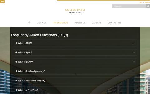 Screenshot of FAQ Page goldenratio.ae - Frequently Asked Questions (FAQs) - GRP LLC - captured Jan. 31, 2016