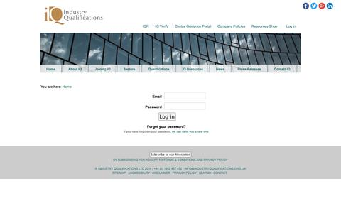 Screenshot of Login Page industryqualifications.org.uk - Industry Qualifications - captured Nov. 6, 2018