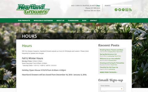 Screenshot of Hours Page heartlandgrowers.com - Hours | Heartland Growers - captured Dec. 9, 2015