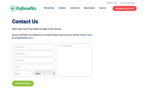 Screenshot of Contact Page rxbenefits.com - Contact Us | RxBenefits - captured Feb. 19, 2020