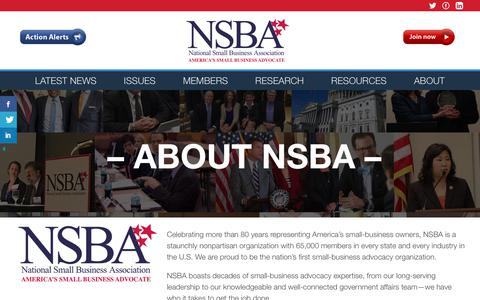 Screenshot of About Page nsba.biz - About - National Small Business Association : National Small Business Association - captured Jan. 29, 2018