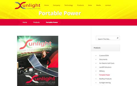 Screenshot of Products Page xunlight.com - Portable Power - Xunlight - captured Sept. 17, 2014