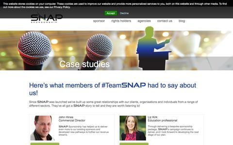 Screenshot of Case Studies Page snapsponsorship.com - Case studies | SNAP - captured Dec. 15, 2015