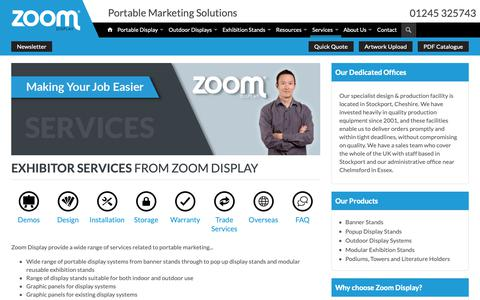 Screenshot of Services Page zoomdisplay.co.uk - Exhibitor Services from Zoom Display - captured Oct. 19, 2018