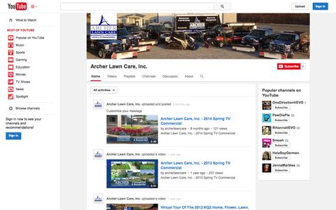 Screenshot of YouTube Page youtube.com - Archer Lawn Care, Inc.  - YouTube - captured Oct. 23, 2014