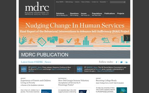 Screenshot of Home Page mdrc.org - MDRC   Building knowledge to improve social policy - captured Sept. 20, 2018