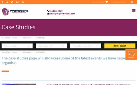 Screenshot of Case Studies Page es-promotions.com - ES Promotions Case Studies - captured July 15, 2018