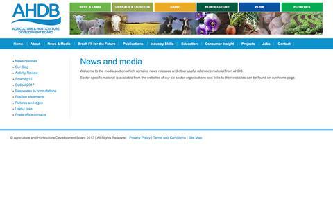 Screenshot of Press Page ahdb.org.uk - AHDB News and Media - captured Oct. 6, 2017