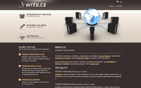 Screenshot of Home Page write.cz - Write.cz  |  internetové obchody, systémy na míru, informační portály | Write.cz, s.r.o. - captured Oct. 7, 2014