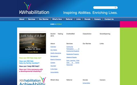 Screenshot of Site Map Page kwhab.ca - Sitemap | KW Habilitation - captured Oct. 6, 2014