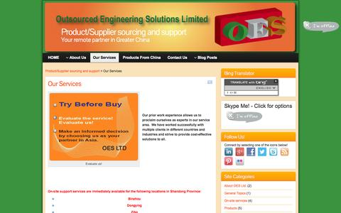 Screenshot of Services Page oesolutions.com.hk - OES Ltd - Service Overview | Product/Supplier sourcing and support - captured Oct. 7, 2014